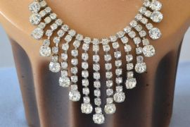 Vintage Cocktail Necklace - 1940s to 1950s Diamante Jewellery (SOLD)